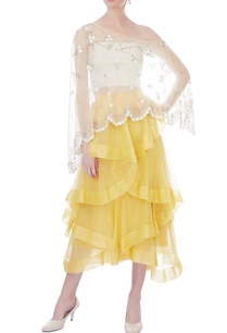 yellow-ruffle-layered-midi-skirt