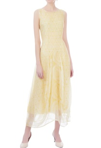 yellow-white-organza-midi-dress