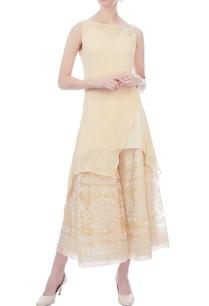 yellow-asymmetric-sleeveless-chiffon-tunic