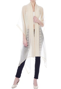 white-beige-embroidered-front-open-cape