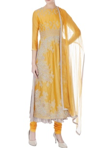 mustard-chanderi-zari-embroidered-kurta-with-churidar-and-dupatta
