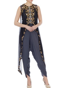 grey-dhoti-style-jumpsuit-with-embellished-cape