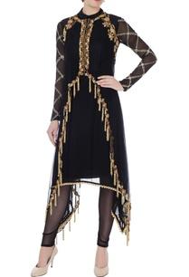 black-net-asymmetric-kurta-with-cape-leggings