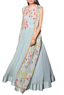 sea-blue-anarkali-with-printed-jacket