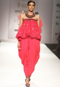 red-embroidered-ruffled-top-with-cowl-dhoti-pants