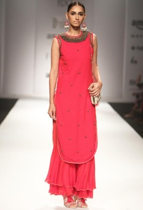 red-embellished-kurta-with-matching-sharara