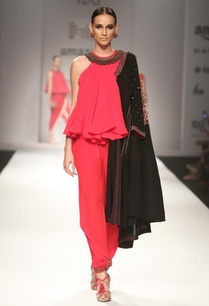 red-ruffled-jumpsuit-with-black-khadi-embroidered-jacket