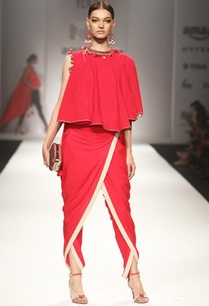 red-khadi-asymmetrical-top-with-overlap-dhoti-pants