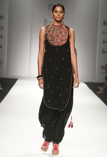 black-embroidered-yoke-kurta-with-gathered-sharara