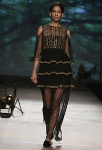 black-embroidered-tiered-cold-shoulder-dress