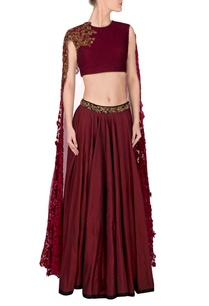 marsala-embroidered-lehenga-with-cape-blouse