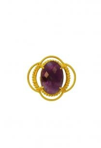 gold-finish-textured-amethyst-ring