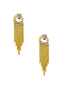gold-plated-pearl-chain-tassled-earrings