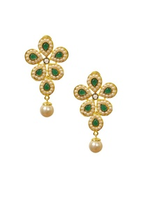 gold-plated-pearl-emerald-stone-floral-earrings