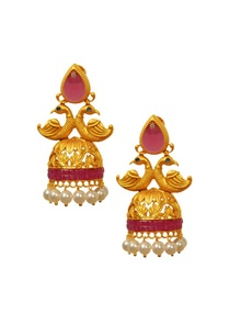 gold-plated-pink-peacock-jhumkas