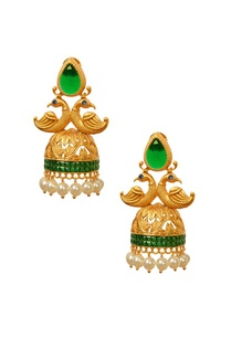 gold-plated-emerald-peacock-jhumkas