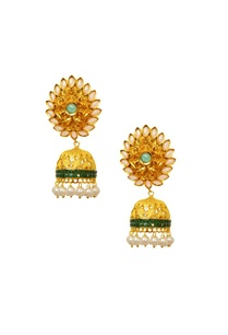 gold-plated-pearl-green-crystal-jhumkas