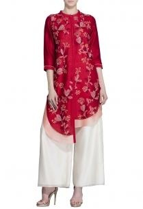 red-soft-pink-foliage-embroidered-tunic