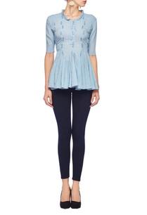 powder-blue-button-loop-ruffled-blouse