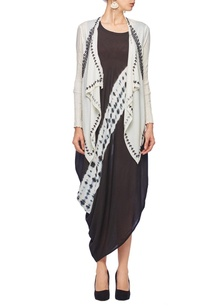 white-black-tie-dye-embroidered-jacket-dress