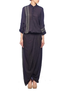 black-grey-embroidered-wrap-draped-dress