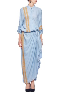 powder-blue-orange-wrap-draped-dress