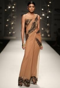 nude-black-feather-sari