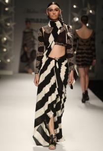 black-ivory-striped-motif-draped-sari