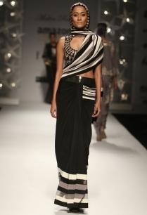 black-grey-ivory-peacock-feather-sari