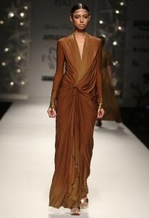 brown-ombre-draped-knot-dress