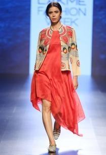 red-shibori-striped-asymmetrical-dress