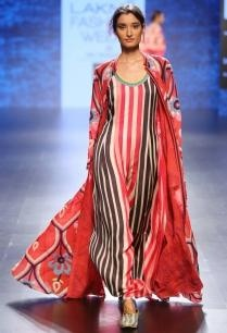 red-beige-black-striped-column-dress