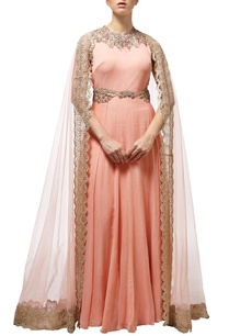 peach-embroidered-cape-anarkali