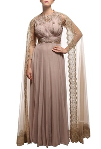 beige-embroidered-cape-anarkali-set