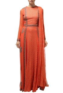 orange-silver-embroidered-anarkali-set