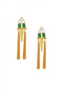 gold-plated-green-stone-spike-dangle-earrings