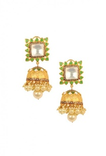 gold-plated-green-stone-pearl-jhumkas