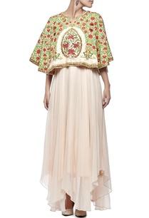 soft-beige-red-floral-printed-embellished-cape-dress