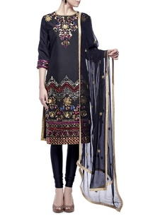 black-multi-colored-embellished-kurta-set