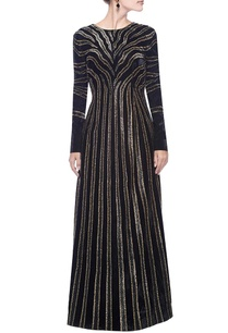 black-gold-zebra-striped-embellished-gown