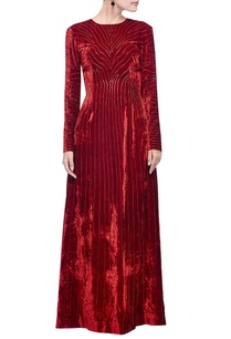 red-gold-zebra-striped-embellished-gown