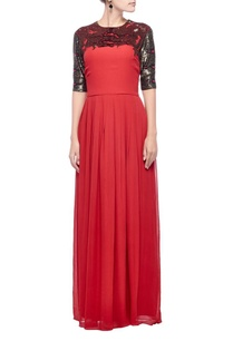 red-antique-gold-snakeskin-embellished-gown