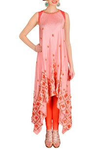 peachy-pink-orange-floral-embelished-kurta-set