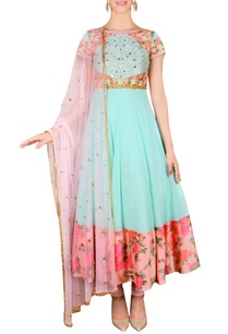 aqua-blue-floral-embroidered-anarkali-set