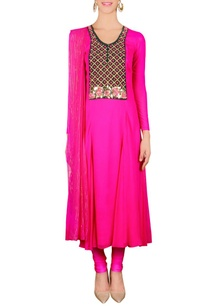 hot-pink-floral-embellished-kurta-set