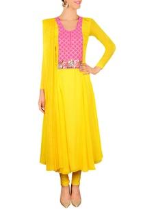 bright-yellow-pink-floral-embellished-kurta-set