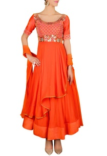 burnt-orange-floral-embellished-anarkali-set