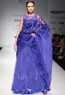 indigo-floral-lace-ruffled-lehenga-set