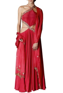 red-cut-out-embellished-anarkali-with-dupatta