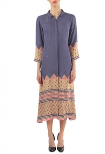 purple-peach-printed-shirt-dress